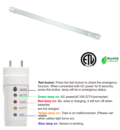 EMERGENCY BATTERY BACKUP LED TUBES